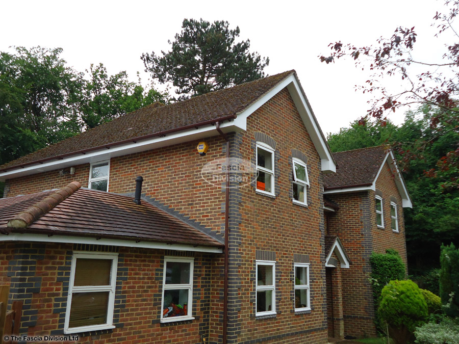 Brown round guttering white fascia white plain soffit full replacement Beaconsfield