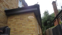 Recent installation of anthracite grey UPVC fascias soffits and black half round guttering at rear of a detached property Maidenhead High Wycombe