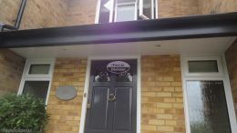 Recent installation of anthracite grey UPVC fascias white tongue and groove soffits and black half round guttering on a detached property Maidenhead High Wycombe