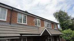 Replacement white ogee fascia board and soffits with mahogany shiplap cladding Hazlemere High Wycombe