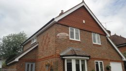 Recent installation of white UPVC fascias soffits and black half round guttering front gables on a detached property Penn High Wycombe